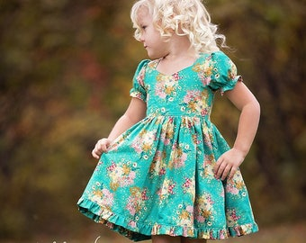 Pearl's Zipper Top & Dress PDF Downloadable Sewing Pattern Toddlers Girls Sizes 2T-12