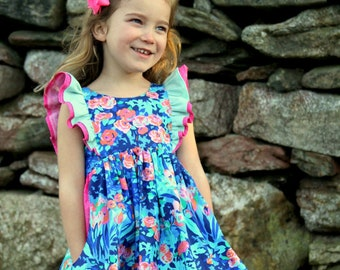 Jaimesyn's Double Flutter Top & Dress. PDF sewing pattern for toddler girl sizes 2t - 12.