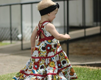 Baby Mia's Tieback Top, Dress & Maxi. PDF sewing pattern for baby sizes NB- 24 months
