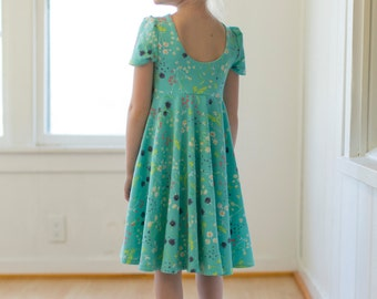 Adelyn's Scoop back knit/ woven tunic and dress. PDF sewing pattern for toddler girl sizes 2t - 12.