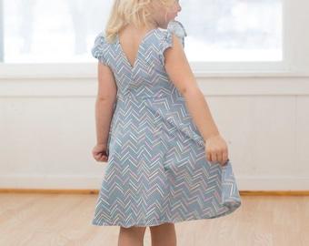 KNIT version Ayda's V back Peplum & Dress. PDF sewing pattern for toddler girl sizes 2t - 12.