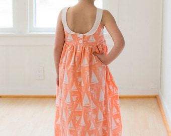 Molly's Scoop Collar and Pintuck Top, Dress and Maxi. PDF sewing patterns for girls sizes 2t-12
