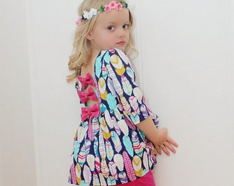 Brenda's Bow Back Top & Dress. PDF sewing pattern for toddler girl sizes 2t - 12.