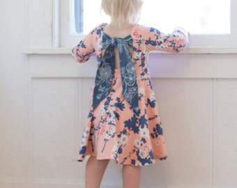 Baby Adelyn's Scoop back knit/ woven tunic and dress. PDF sewing pattern for baby sizes newborn - 24 months
