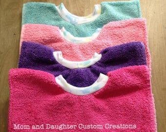 Towel Bibs that stay on for messy babies and toddlers- Girl Colors