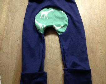 Maxaloones- Teal Giraffe/Safari bum circle, cloth friendly pants