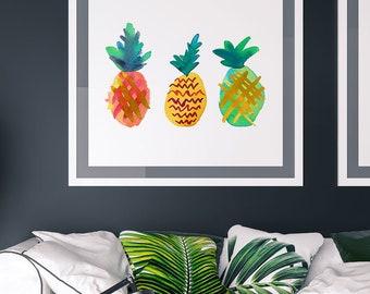 Printable Pineapple Art, Kitchen Pineapple Print, Original Art Print, Summer Pineapples, Colorful Pineapples, Pineapple Wall Decor