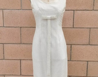 1950s/ 1960s Silver Wiggle Dress, Modern Size  2/4