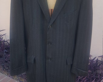 1920s/ 1930s Single Breast Peak Lapel 3 Button Jacket with Union Tag, 40R