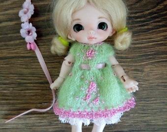 """Dollpamm Pukipuki Lati White SP Soom Imda 11-12 cm BJD Outfit """"Pink Spring"""" for dolls of similar format"""