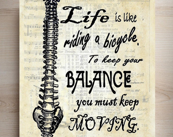 Einstein Spine Life Balance quote art print where you pick your favorite background SLQ1462