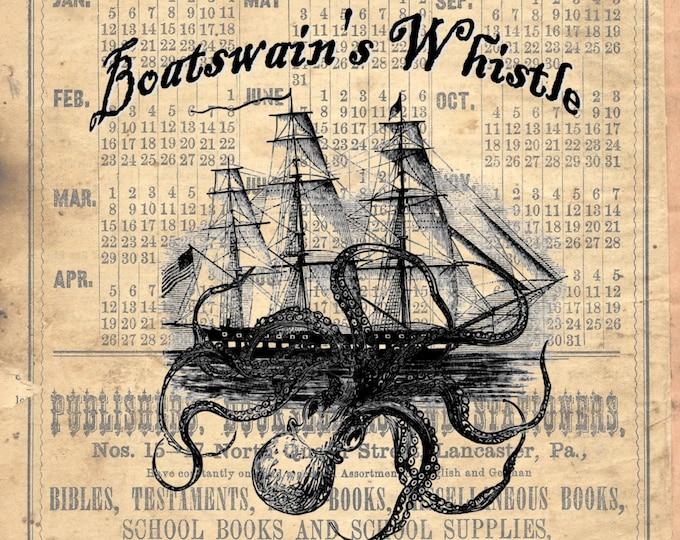 Olde Boatswain whistle public house Inn primitive art print  BWPH100