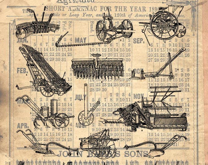 Vintage Farm Agricultural implements tractor plow farmhouse print repro antique paper choice rustic industrial wall hanging gift FARM205