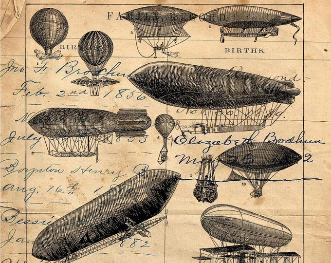 Blimp Zepplin Hot Air Balloon parachute aeronautics industrial art print AEOR308