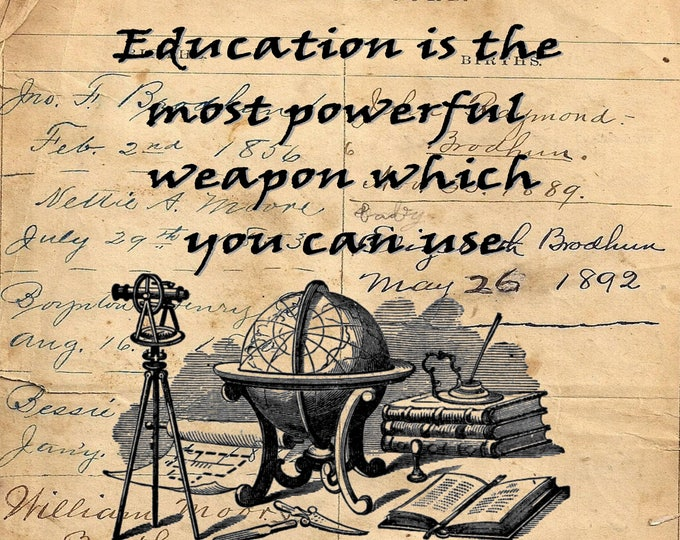 Teacher gift education Nelson Mandela quote art print EDU4577