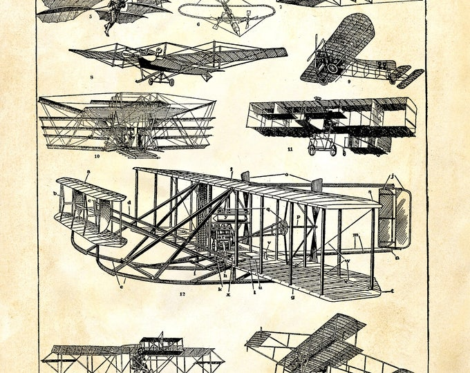 Airplane study aeronautics Wright plane print rustic industrial AIR3356