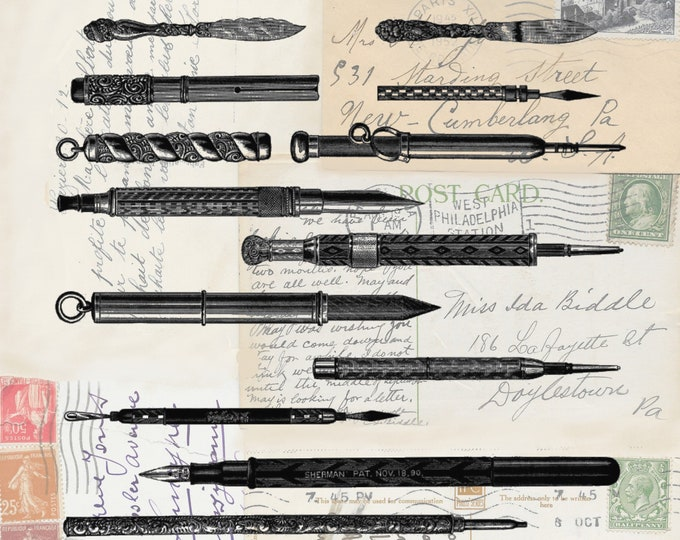 NEW antique writing pens and pencils on antique postcard background art print  WR039