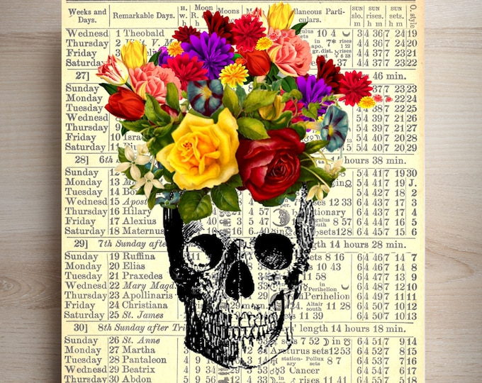 Skull bouquet of flowers funky retro art print SKUL27