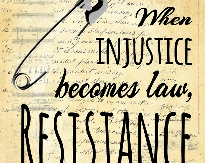 Resistance quote sign letterpress safety pin injustice protest art print custom choice background from antique paper RESIST45