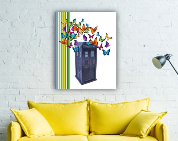 Dr Who TARDIS butterfly colorful stripe colorful hippie, bohemian, funky wall decor  DWHO5