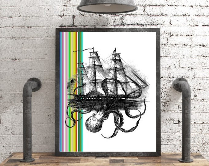 Kraken octopus attacking ship with colorful side stripe colorful hippie, bohemian, funky wall decor  OCTO394