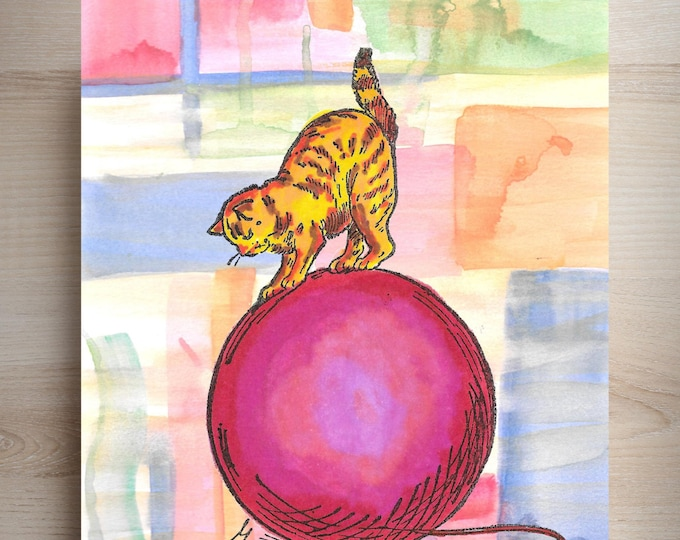 Whimsical Cat Ball of Yarn print from hand painted watercolor CAT3048