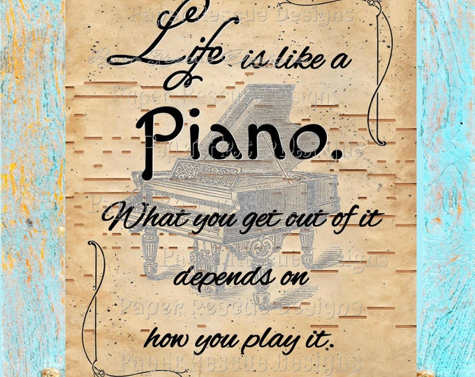 Antique Player piano paper art print life like a piano quote LQ2018