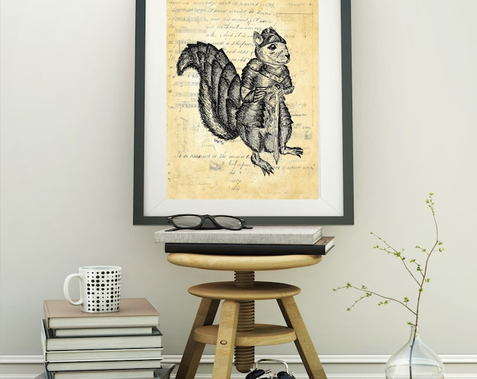 Warrior Squirrel 2 original design knight armor art print WSK234
