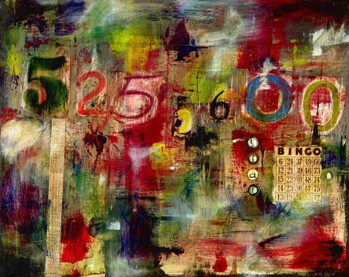 Art print of original Minutes acrylic painting 8x10 mixed media collage colorful print MOP9304