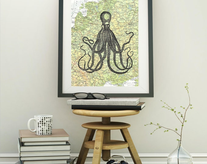 Long Octopus Print on Vintage Atlas or Map Page LOP1224