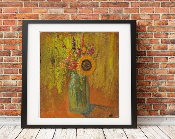 Acrylic painting print Mason Jar Flowers sunflower unique print original artwork Debis ARTistry print from original MJF2446