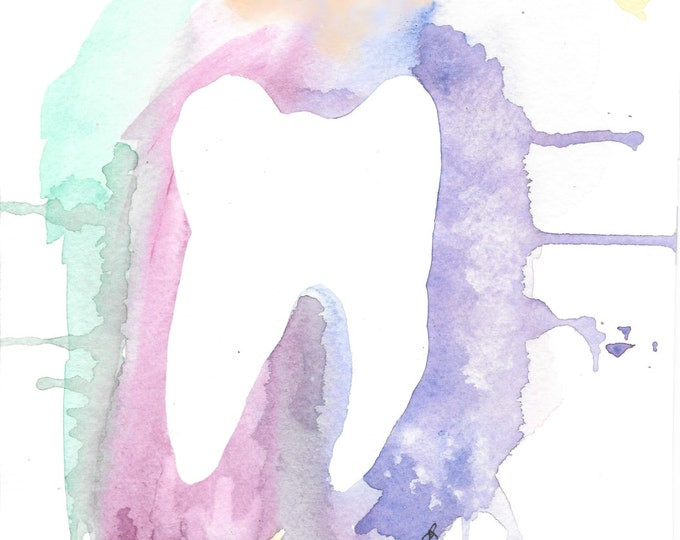 Print of Original watercolor painting entitled Tooth 2 print dentist ORTHODONTIST graduate gift purple yellow blue wall decor OWT1234