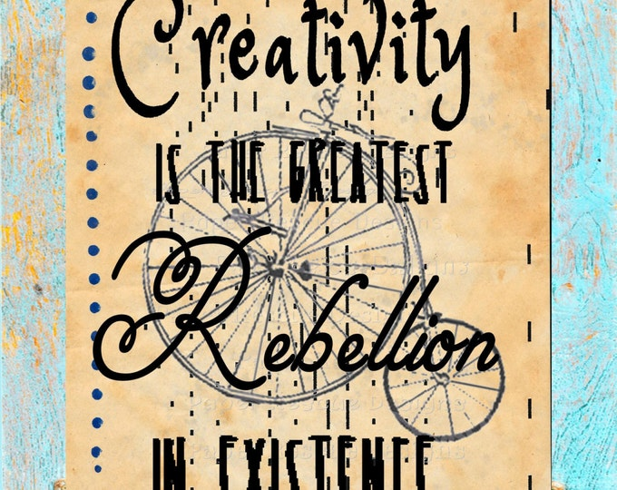 Art upcycled antique paper Osho quote SIGN creativity rebellion letterpress on authentic antique player piano paper for wall decor SIGN0384