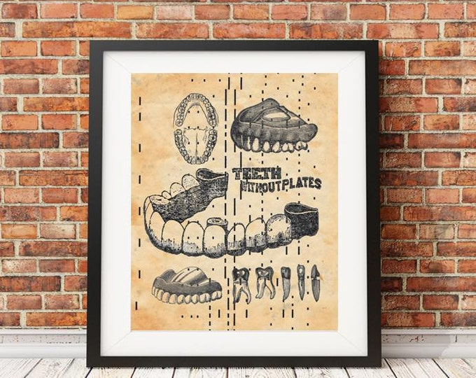 ANTIQUE Player piano paper PAGE beautifully upcycled Dentist Page with teeth art print decor personalized handmade antique paper print DEN12