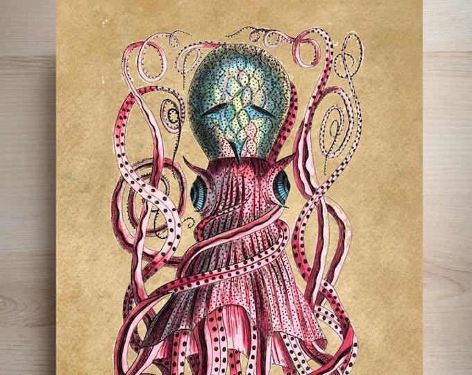 Vintage Octopus spotted art print NAUTICAL BEACH decor print OK1444