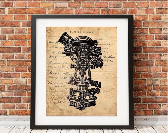 Old telescope alidade navigation science geek Vintage Image print GEEK0367