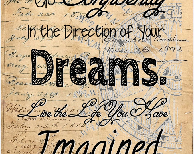 Live life imagined Thoreau quote sign vintage Image print of antique ledger paper vintage print wall hanging decoration gift TQS2937