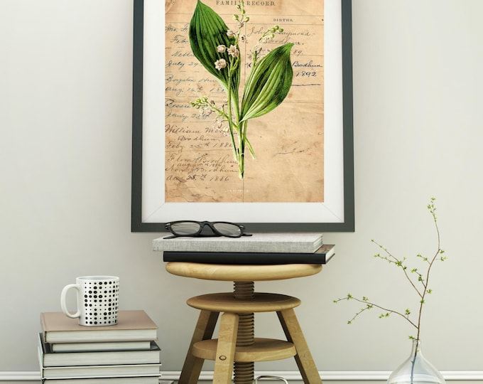 Botanical Vintage Print Lily of Valley 2 custom choice of print, hand painted antique papers, for personalized wall decor BVP302