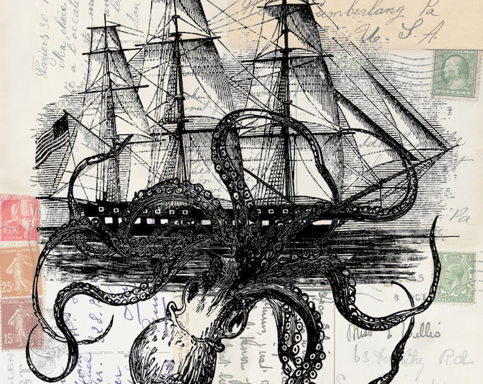 NEW Octopus attacking ship on antique postcard background art print  OCTS339