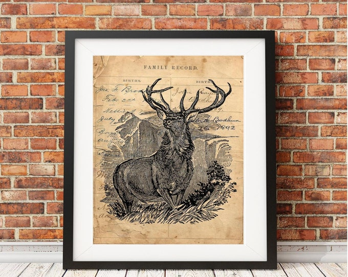 Vintage buck elk print | FARMHOUSE DECOR print | handmade vintage wall decor | choose art print background | BEA9384