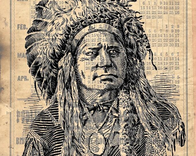 Native American chief western Indian art print NAW94856