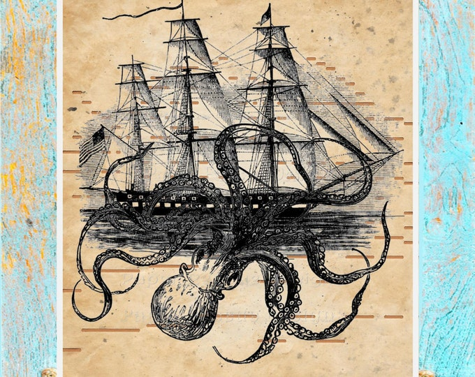 Player Piano Paper Print upcycled to octopus attack ship antique paper art print home decor original handmade PPP1234
