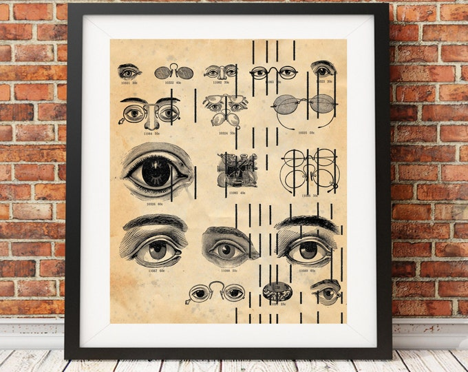 Player Piano Paper Eyes Eyeglasses Optical chart optometrist eye Dr on upcycled antique player piano paper for wall decor EOPP8372