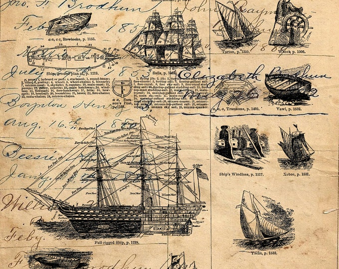 Ships Nautical II art print custom choice background antique vintage page beautiful gift decor SNAU896