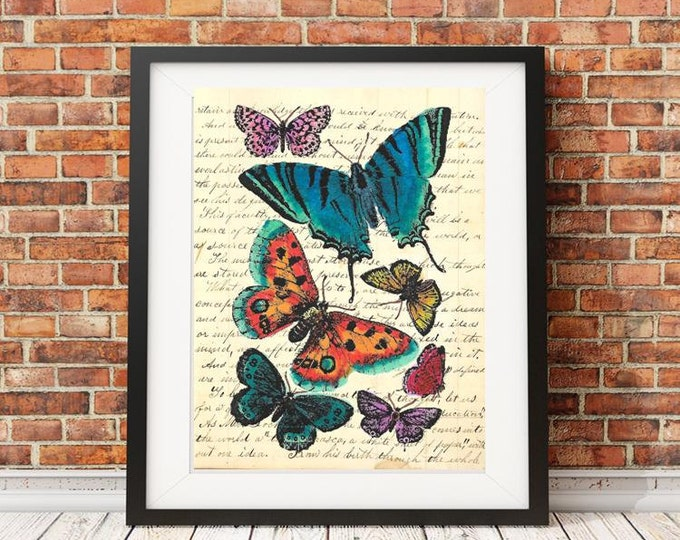 Colorful Vintage Butterfly print | vintage image on the background of your choice | VBP0487