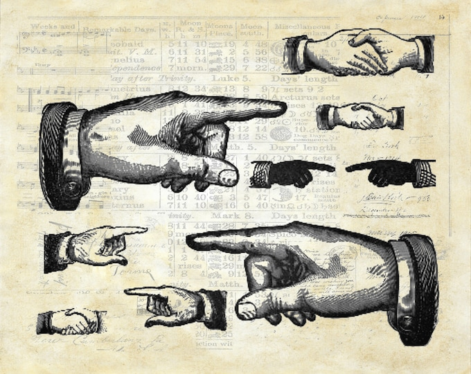 Pointing fingers hands vintage art print poster PH9498