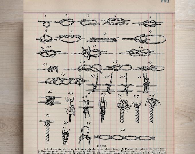 Antique Ledger Paper Print nautical knot study boating sailor sailing antique paper art print wall farmhouse rustic 1800s decor KSL3903