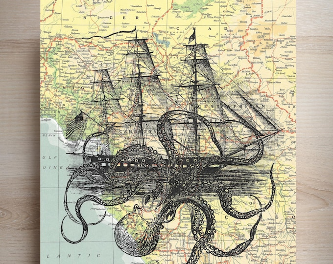 Vintage Map Atlas page print of Octopus attacking Ship, print on real map atlas page, VMA0438