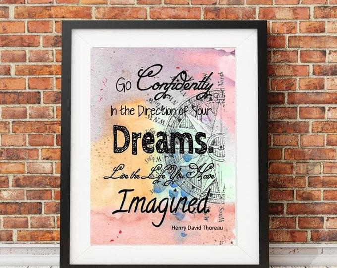 Henry David Thoreau Dreams Imagined Watercolor quote print HDT20387