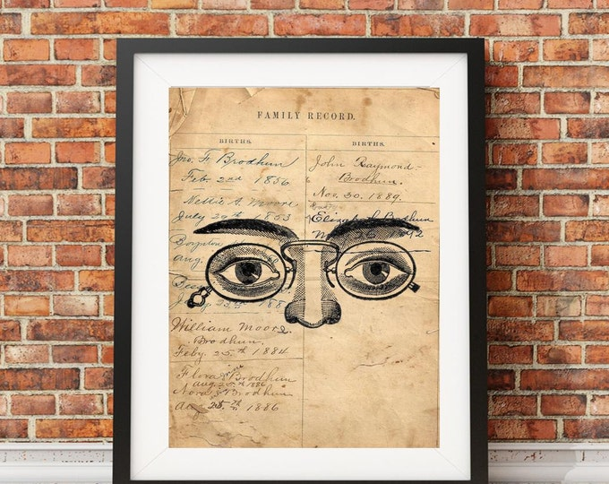 Vintage eyes glasses optometry DR antique image reproduction of antique ledger paper vintage print wall hanging decoration gift EYE302
